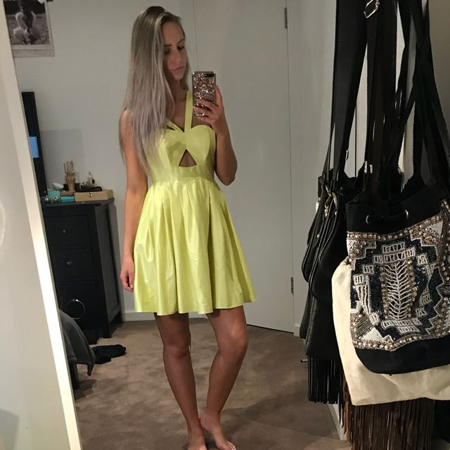 FOREVER NEW Yellow Silky Dress With Cutout