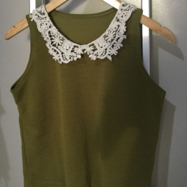 Green with Lace Collar