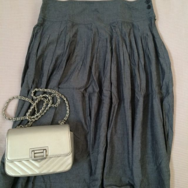 Grey Denim Skirt