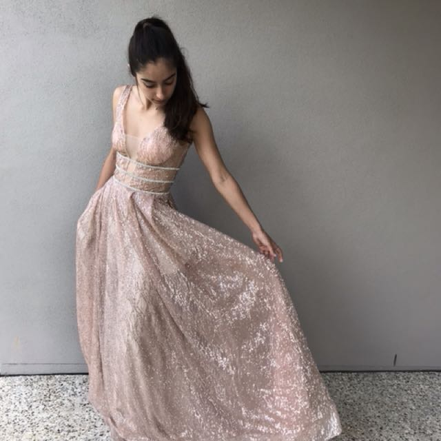 HIRING OUT ROSE GOLD DRESS