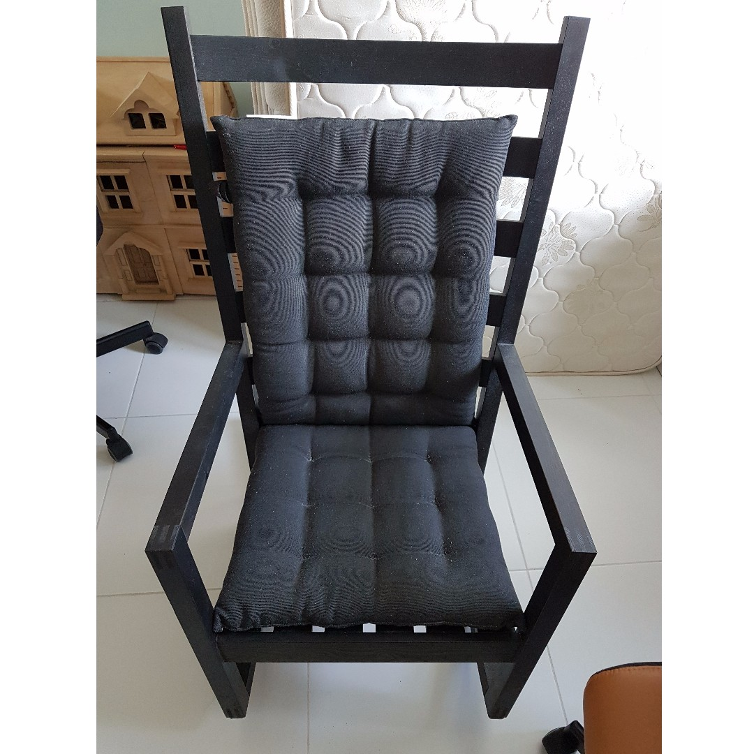 Ikea Varmdo Rocking Chair Black Giving Black Blue Cushions Furniture Tables Chairs On Carousell
