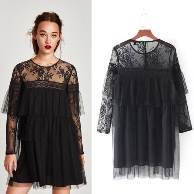 53403408 Inspired Zara Ruffles Dotted Mesh Dress With Lace, Women's Fashion, Clothes,  Tops on Carousell