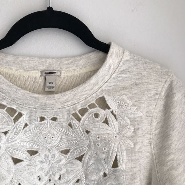 J Crew Floral Cut Out Sweatshirt (XXS - fits like XS)
