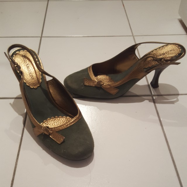 Jade green and gold heels