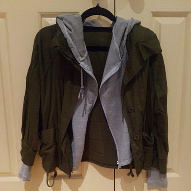 Khaki grey light hooded jacket