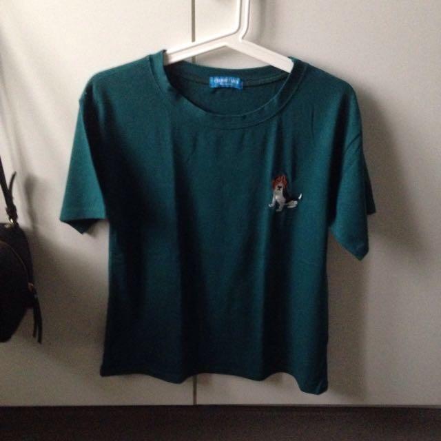 Korean Brand Dog Green Tshirt