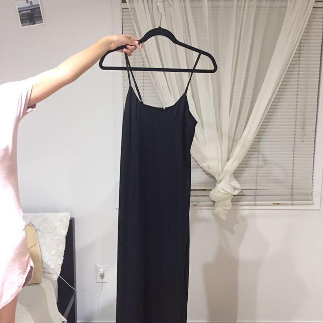 Long black silk dress