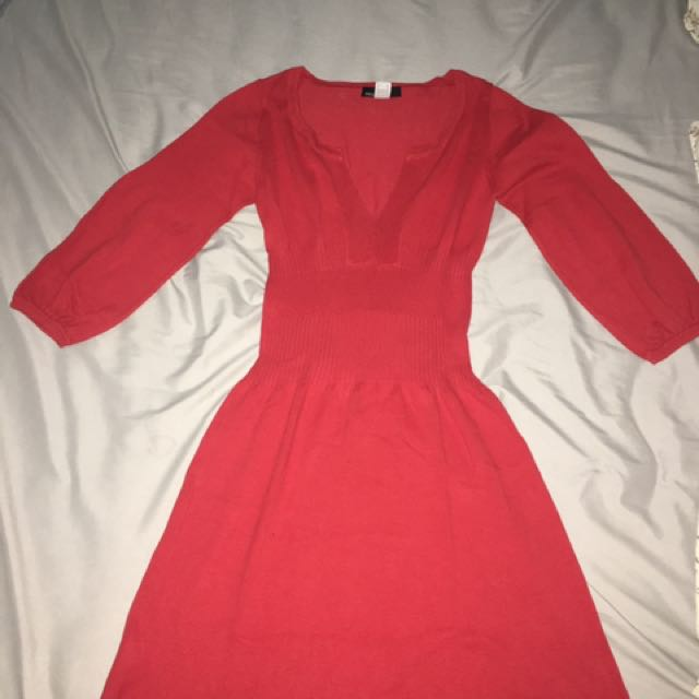 Mango red midi dress