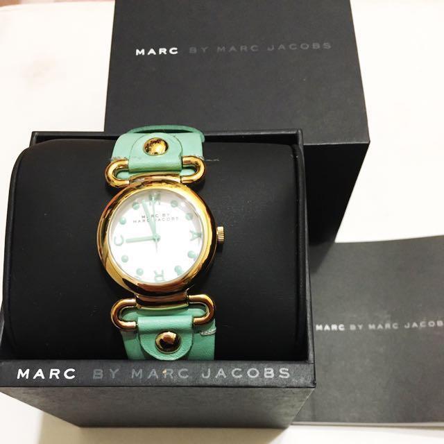 Marc Jacobs 湖水綠真皮手錶