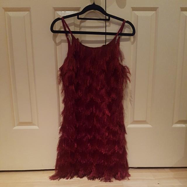 Maroon burgundy wine fringe mini dress
