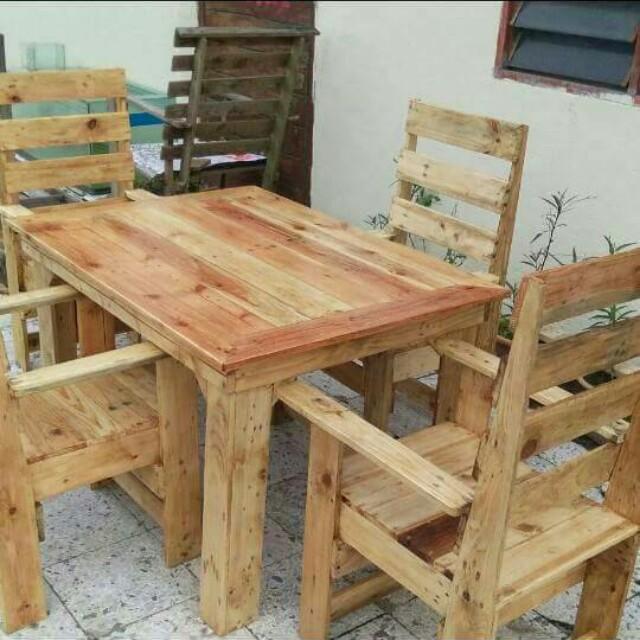 Meja Makan Berasaskan Kayu Pallet Home Furniture On Carou