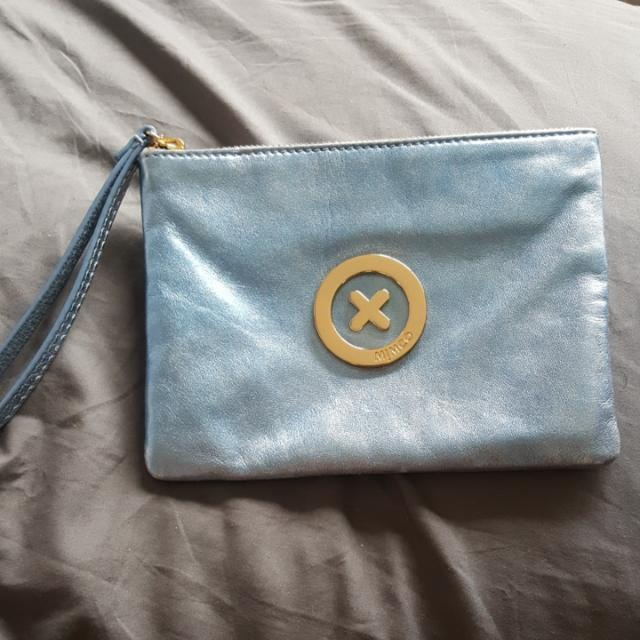 Mimco Medium Metallic Powder Blue Pouch