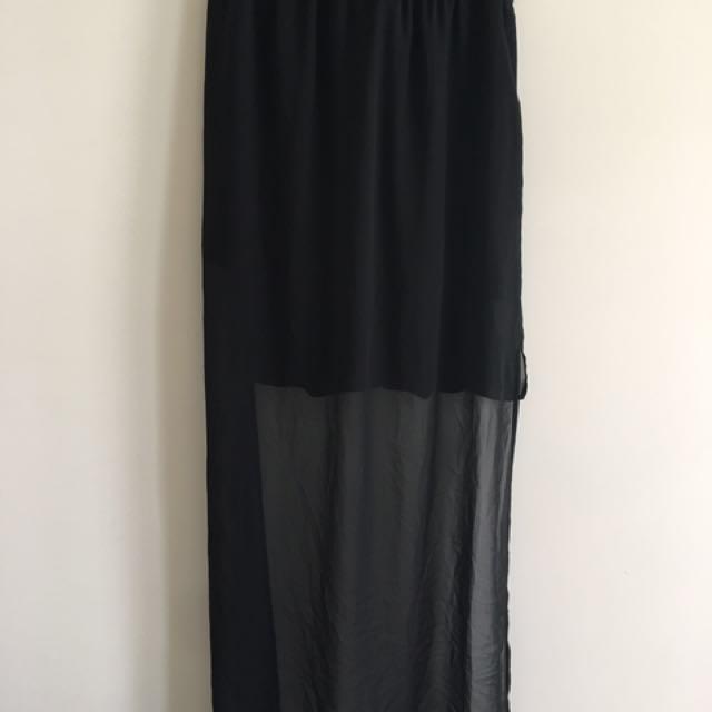 Mini Skirt With Sheer Maxi Overlay
