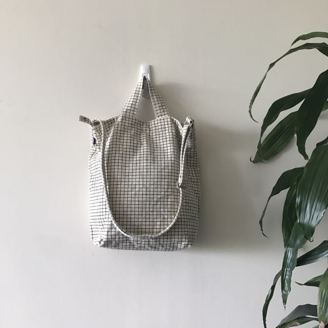 *Minimalist laptop bag* Baggu black/white grid