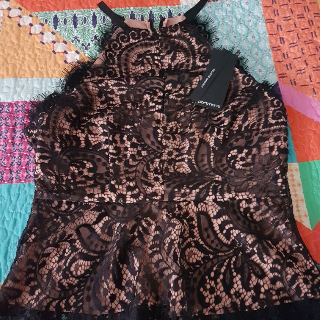 NEW with tags Black Lace Portmans top
