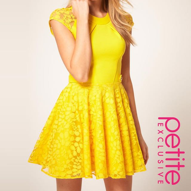 NWT ASOS petite yellow dress