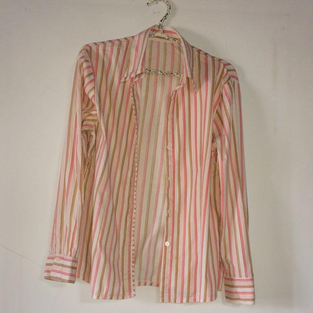 Pink Coklat Stripe Shirt