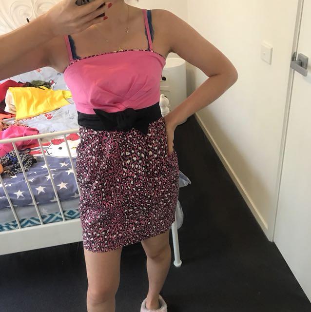 Pink leopard party dress