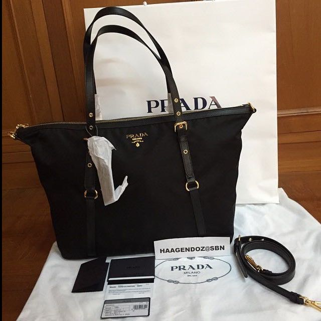 665702818022 Prada Black Tessuto Nylon   Saffiano leather tote bag BR4253