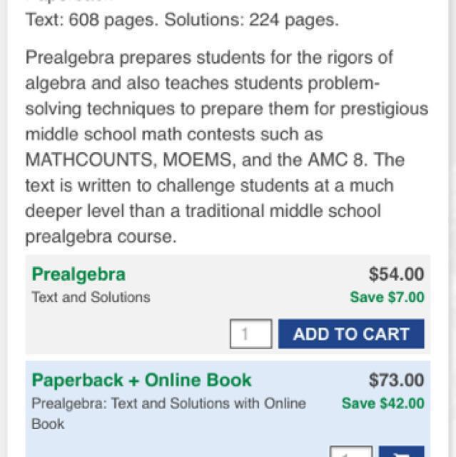 Pre Algebra text book and solution by AOPs, Books