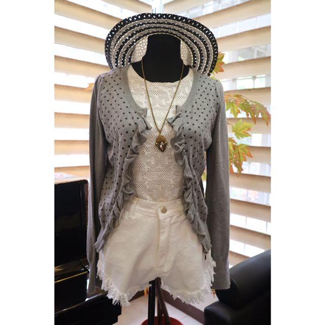 Raffled Gray Knit Cardigan