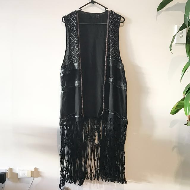 *RARE* Fringe Long Vest Duster With Stud And Lace Appliqué Detailing - H&M