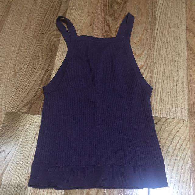 Ribbed purple tank top