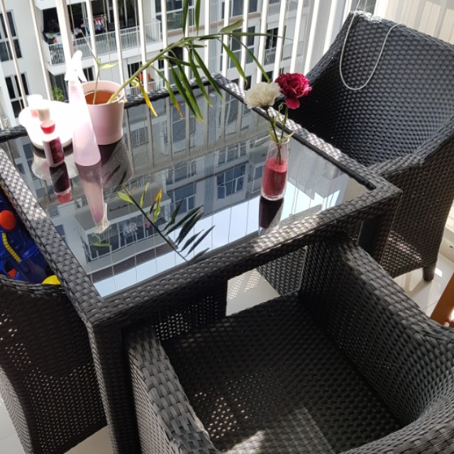 Rotan Balcony Chairs And Table Furniture Tables Chairs On Carousell