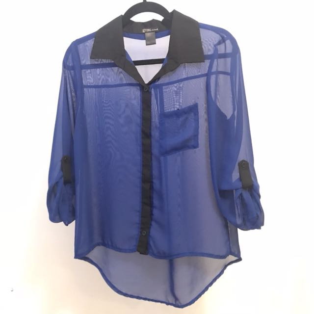 Royal Blue Mesh Button-up