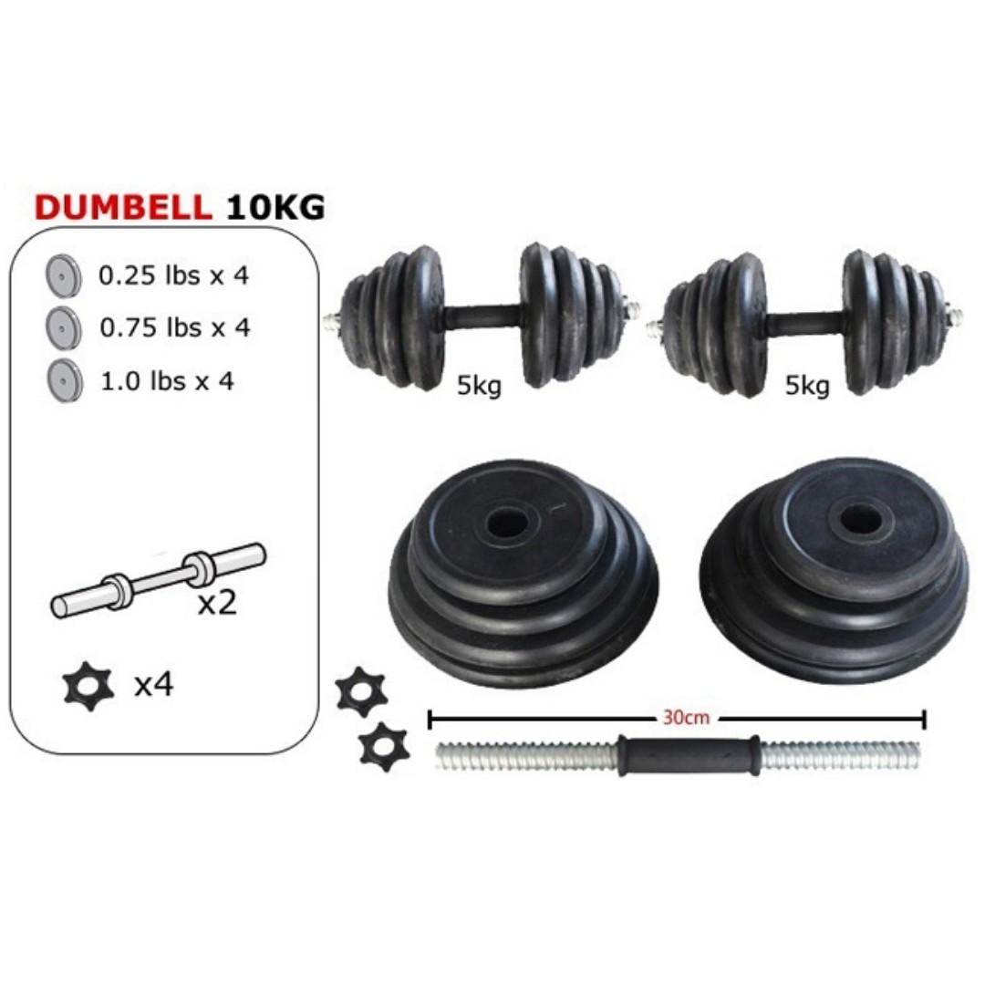 10kg Rubber Black Dumbbell/ Fitness GYM Dumbell, Peralatan Sukan, Gear Sukan Lain di
