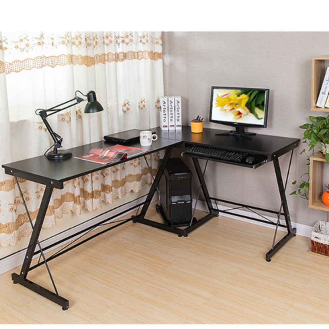 Simple and Neat L-shaped Office Table (BLACK)