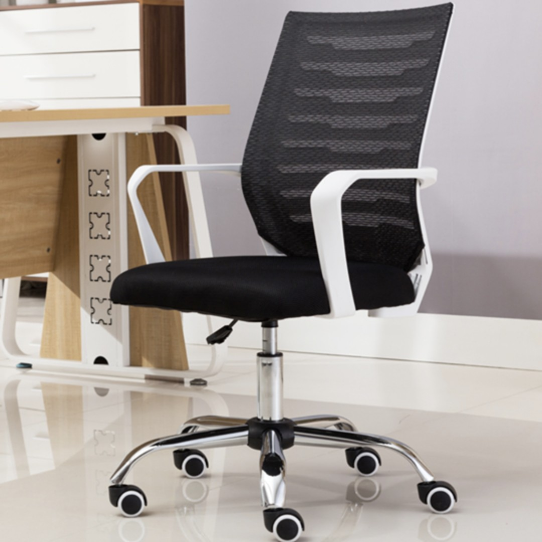 Simple and Neat Office Chair White (Swivel)