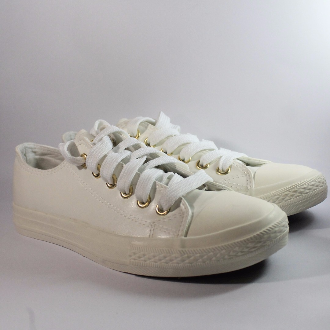 ae645731129c14 Size 7) Converse White with Gold Holes Shoes (Leather-type)
