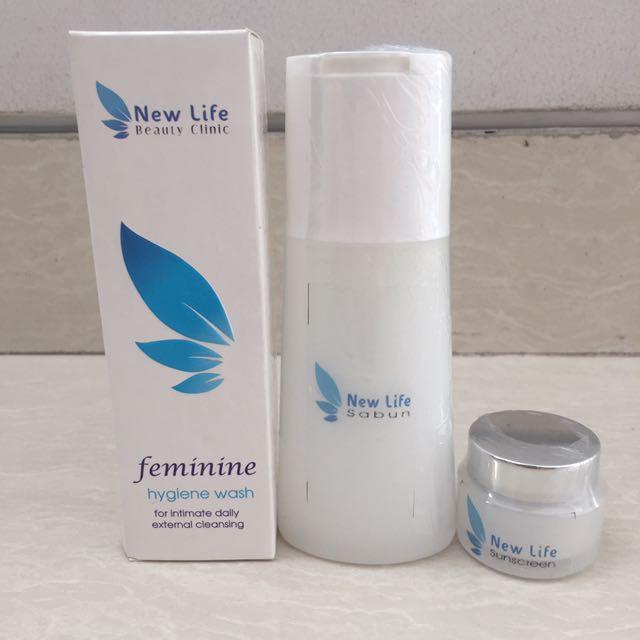Skin Care New Life Clinic Face Wash Feminine Wash dan Sunscreen