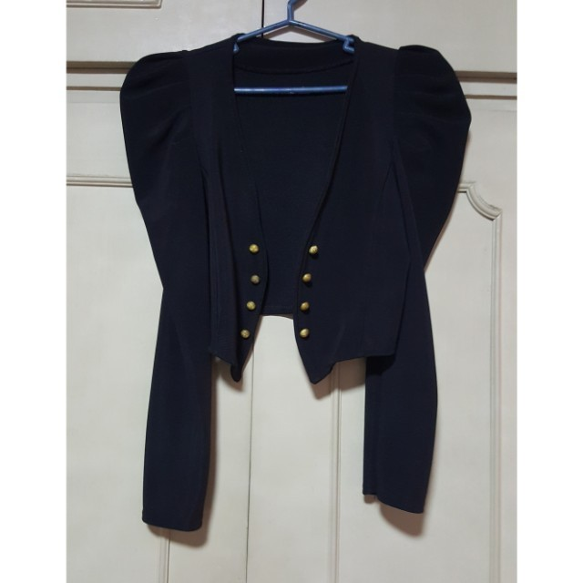 SUPER SALE: Ruffle-sleeved cropped blazer