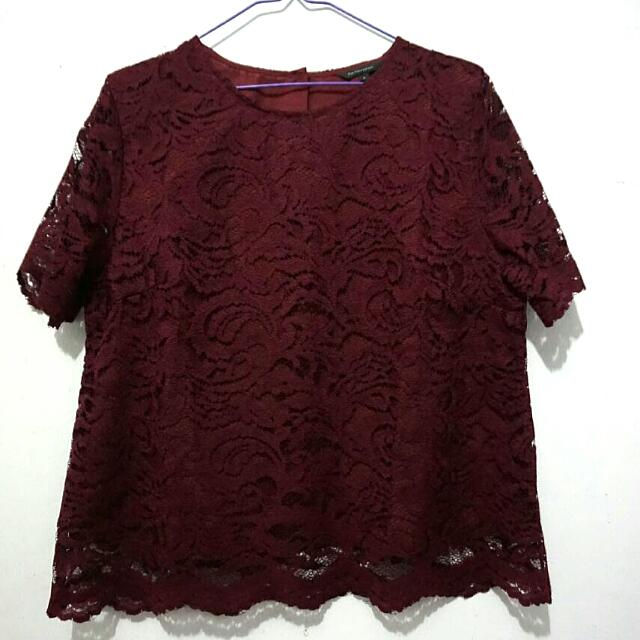 The Executive Maroon Lace Top