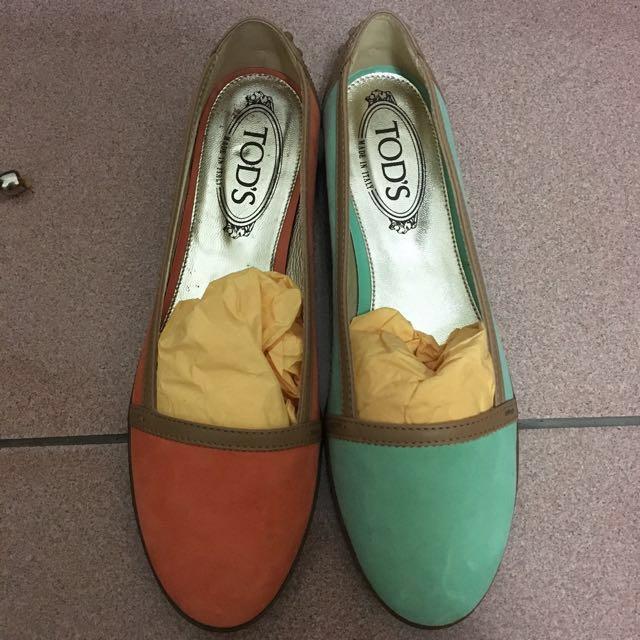 TODS 女款豆豆鞋 平底鞋 娃娃鞋 粉綠色 粉橘色