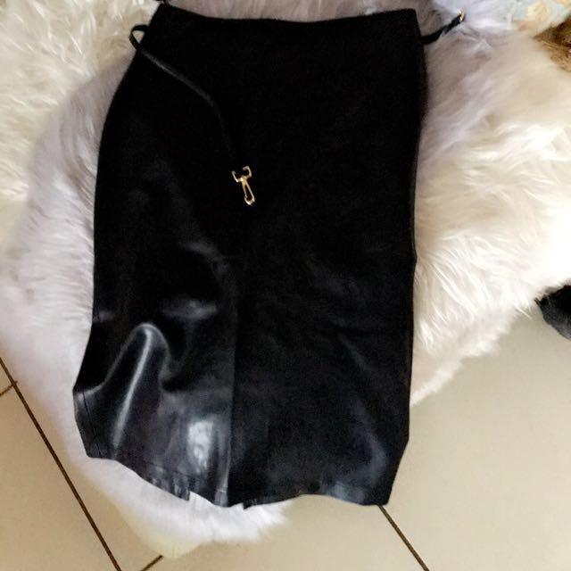 TOPSHOP Skirt, Pencil Skirt, Black PVC