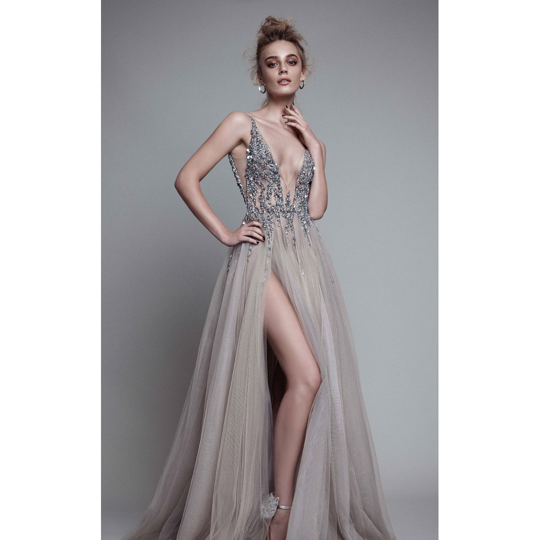 V Neck Sleeveless Sexy Low Back See Through Gown with Beaded Sequin Top - Made to Order YN001