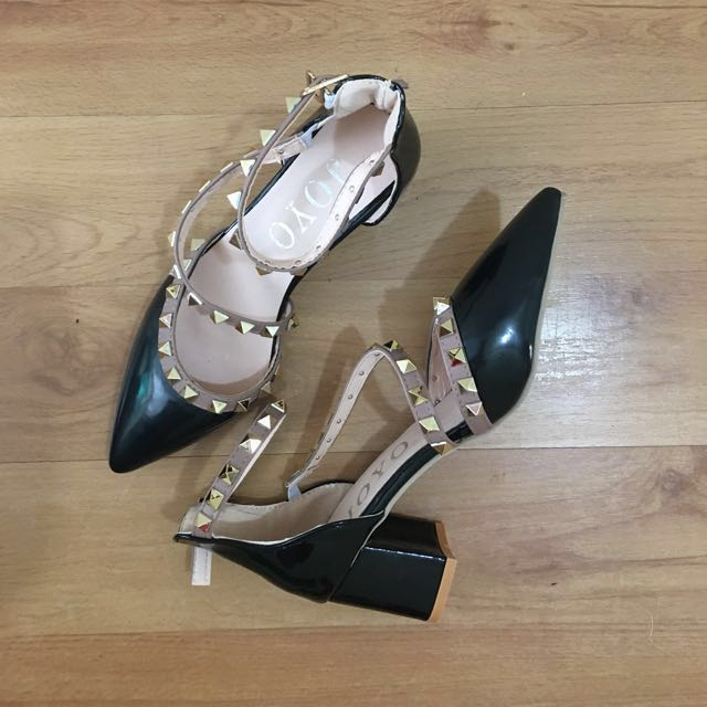 Valentino Inspired Rock Studded Black Heels