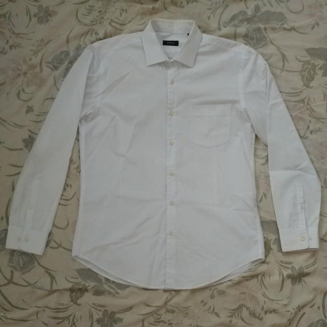 Wharton Button-Down Long Sleeves - White Pinstripe
