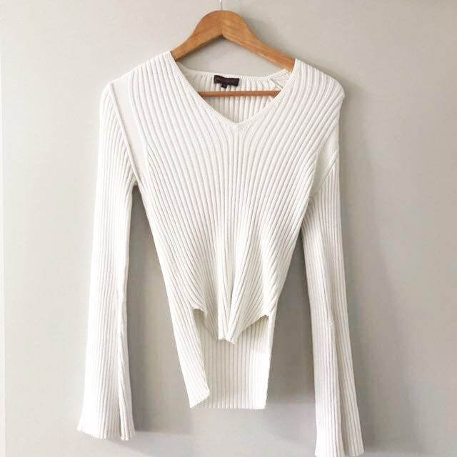 White stretch ribbed knit bell sleeve size S sweater