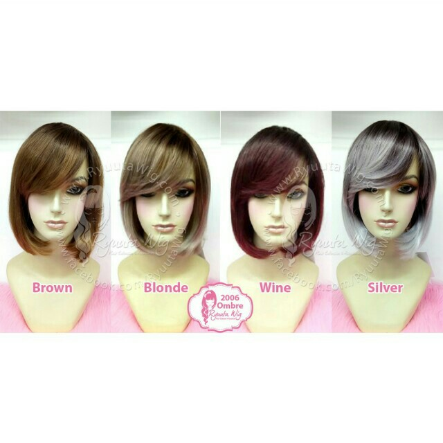 Wig bob short brown color ombre gradasi