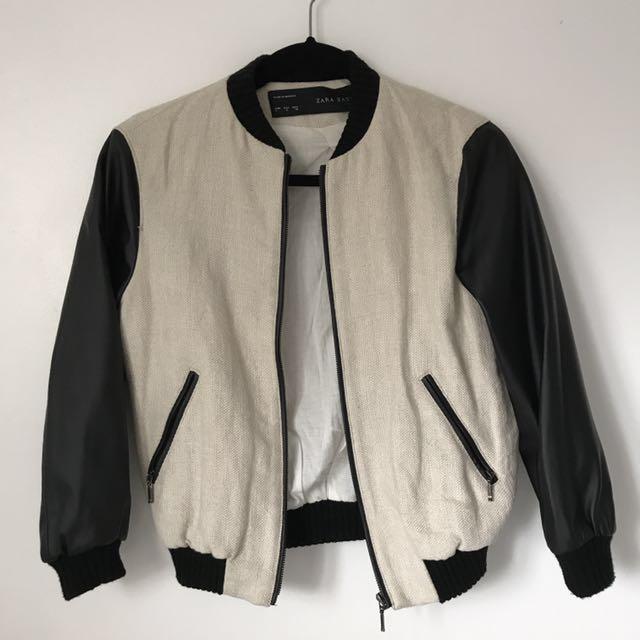 Zara Leather Sleeve Varsity Jacket