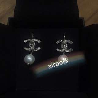 Authentic Chanel Dangling Pearl Earrings
