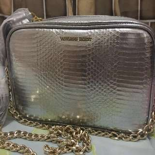 Victoria's Secret Fashion Show Crossbody Silver Metallic Luxe Python Bag