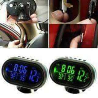 Type:Car LCD Freeze-Alert Thermometer Voltage Meter Clock