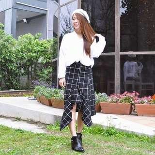 春新品.FB🔍ZOOEY 格紋裙子搭白襯衫