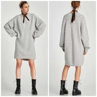 OshareGirl 10 歐美V領純色長版針織上衣洋裝