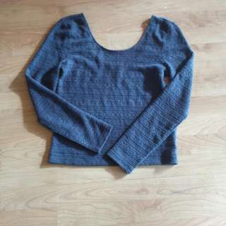 American Eagle Grey Knitted Crochet Long Sleeve